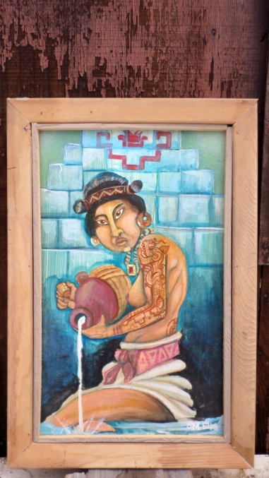 14 x 20 add two inches for frame 16 x 22 the frame is made out of red wood and is stained the piece concentrates on the face form and tattoos