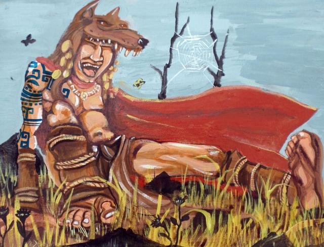 Coyote Laughs Painting